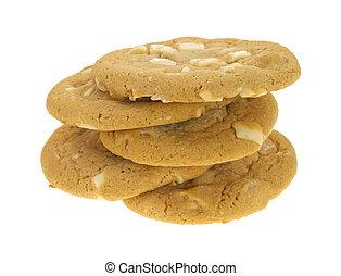 branca, macadamia, cinco, biscoitos, chocolate