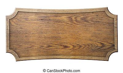branca, madeira, isolado, sinal
