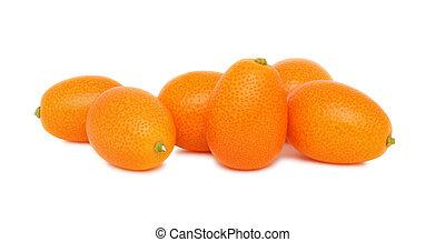 branca, maduro, fundo, kumquats