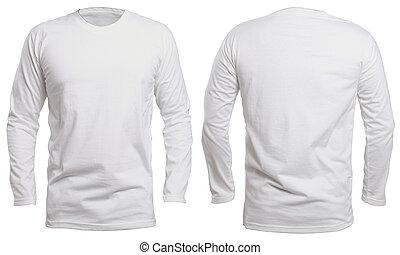branca, manga longa, camisa, escarneça, cima
