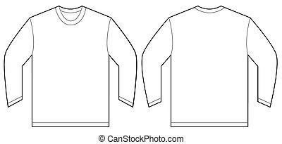 branca, manga longa, t-shirt, desenho, modelo