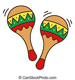 branca, maracas, apartamento, coloridos, mexicano, objeto, experiência., isolado, instrumento, style.