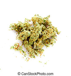 branca, marijuana, fundo, isolado