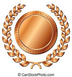 branca, medalha, bronze, fundo