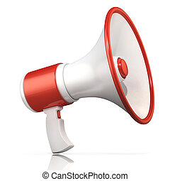 branca, megafone, vermelho
