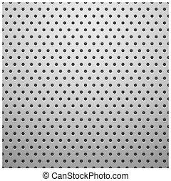 branca, metal, textura, com, buracos
