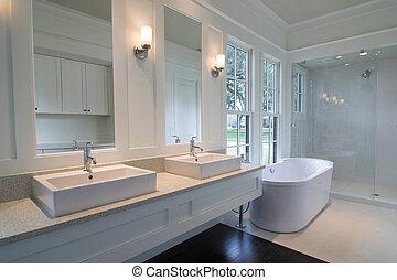 branca, modernos, banheiro