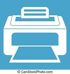 branca, modernos, impressora laser, ícone