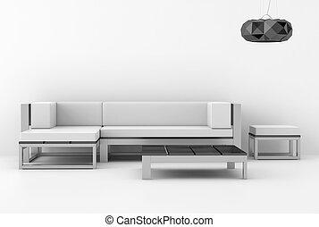 branca, modernos, interior