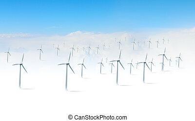 branca, modernos, turbinas, vento