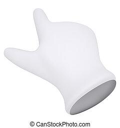 branca, mostra, gloves., dedo indicador