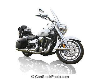 branca, motocicleta, fundo
