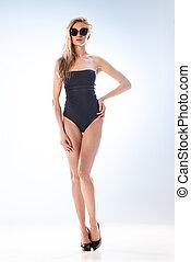 branca, mulher, óculos de sol, swimsuit
