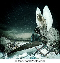 branca, mulher, asas, anjo, triste