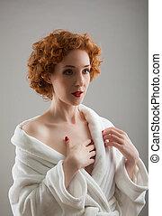 branca, mulher, bathrobe