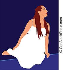 branca, mulher, chão, sentando