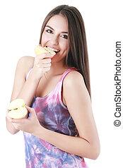 branca, mulher, comer, maçã