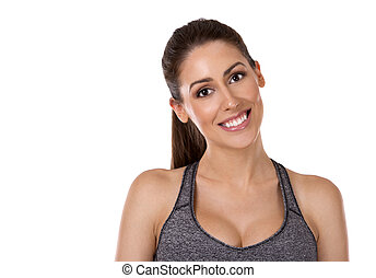 branca, mulher, fundo, condicão física