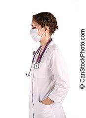 branca, mulher, máscara, isolado, doktor
