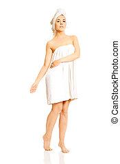branca, mulher, toalha, jovem
