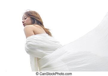 branca, mulher, vestido, atraente