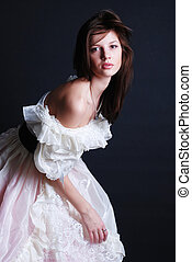 branca, mulher, vestido