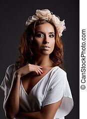 branca, mulher, vestido, bonito