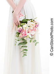 branca, mulher, vestido, flores, segurando