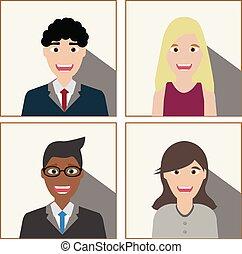 branca, negócio, pessoas experiência
