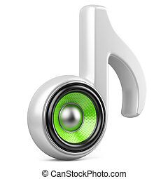 branca, nota, e, speaker., áudio, conceito