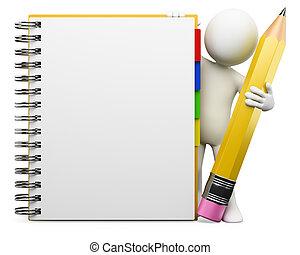 branca, notepad, pessoas., 3d