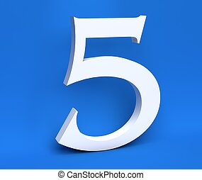 branca, numere 5, (five), ligado, um, azul, experiência., 3d, render