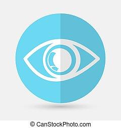 branca, olho, fundo, ícone
