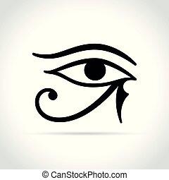branca, olho, fundo, horus, ícone