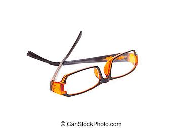 branca, olho, isolado, fundo, óculos