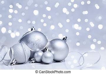 branca, ornamento, natal