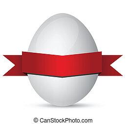 branca, ovos páscoa, com, fita vermelha