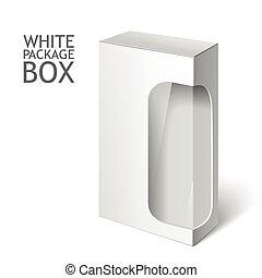 branca, pacote, caixa, com, janela., mockup, modelo
