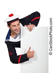 branca, painel, atrás de, a, marinheiro