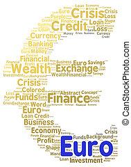 branca, palavra, isolado, nuvem, euro