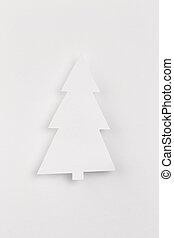 branca, papel, árvore, Natal, fundo