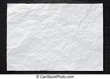branca, papel amarrotado, ligado, escuro, madeira, fundo