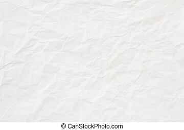 branca, papel amarrotado, textura, ou, fundo