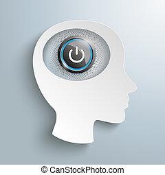 branca, papel, cabeça, poder cérebro, botão