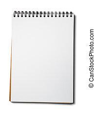 branca, papel, caderno, em branco