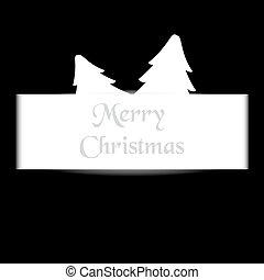 branca, papel, com, árvore, simples, feliz natal, cartão, eps10