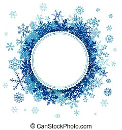 branca, papel, emblema, snowflakes, fundo
