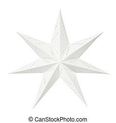 branca, papel, estrela, natal