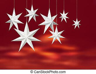 branca, papel, estrelas, vermelho