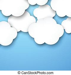 branca, papel, nuvens, blue.